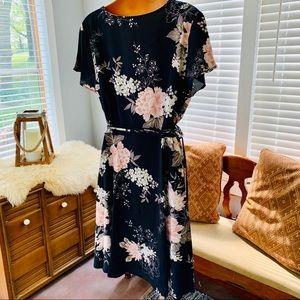 Fflmyuhuliu Dresses - GORGEOUS charcoal grey, pastel pink wrap dress!!